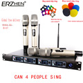 Wireless Microphone System U4000T Professional Microphone 4 Channel UHF Dynamic Professional 4 Handheld Microphone + Karaoke