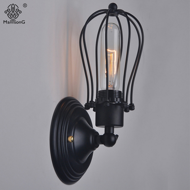 New Wall Lamp Industrial Loft Iron Black Retro Design Wall Lights AC E27 For Bar Cafe Bathroom Home Decoration Lighting Fixture new arrival iron net black adjustable double head lights wall mounted lamp industrial vintage wall lights for bar aisles e27