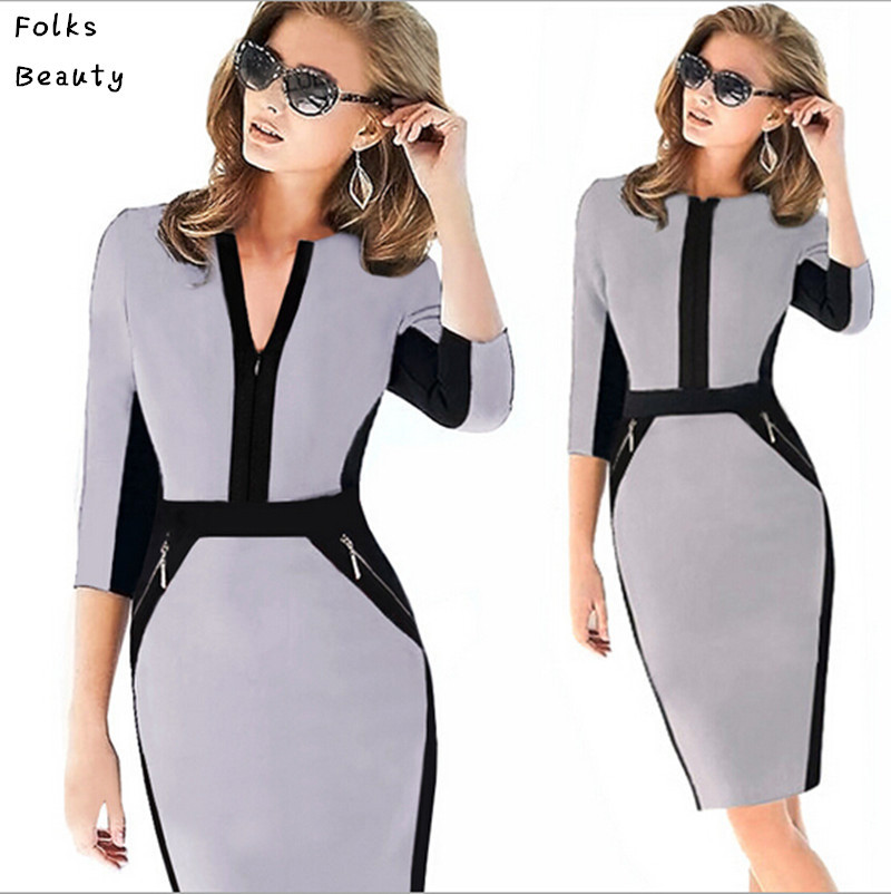 Work dresses for Women Plus Size XXL Elegant Patchwork Stretch Tunic  Business Casual Office Formal Pencil Sheath Dress-in Dresses from Women s  Clothing on ... b87f4f3ff3d0