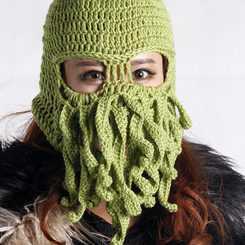Handmade Funny Tentacle Octopus Hat Crochet Cthulhu Beard Beanie Men s  Women s Knit Wind Mask Cap Halloween Animal Gift-in Skullies   Beanies from  Apparel ... dd48d94b011