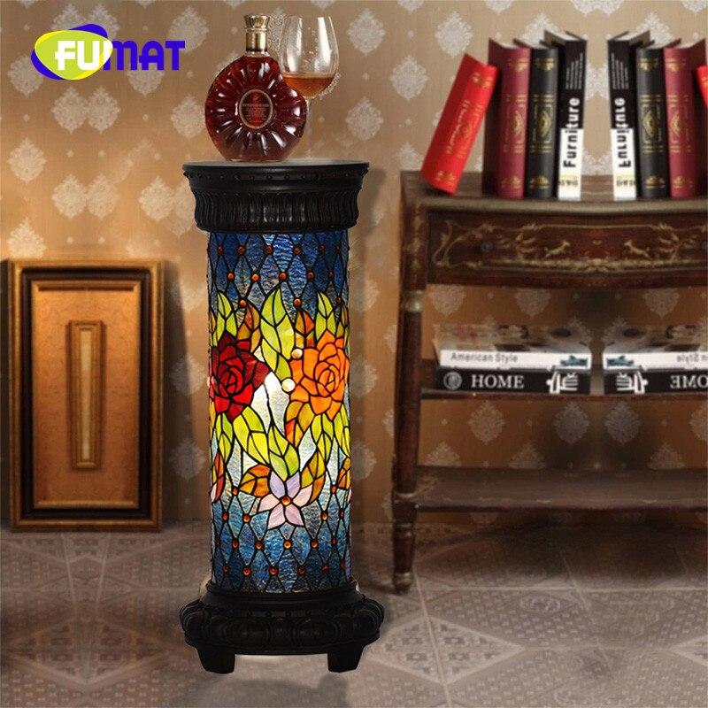 FUMAT Tiffany Colonne Romaine Lampe Téléphone De Bureau Européenne Rétro Rose Chambre salon salle D'étude Décoration Lampadaire
