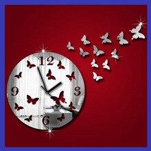 Butterfly wall clock Wall Sticker Fantasy fashion Creative Round Art Acrylic