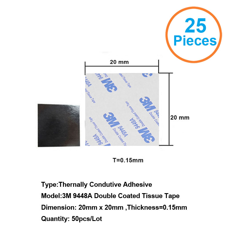 25pcs 3M9448A 20x20x0.15mm Double Coated Tissue Tape Thermally Conductive Adhesive thermal pad for heat sink heatsink radiator 48pcs x 25 25mm square thermal adhesive tape for heatsink heat sink high thermal conductive