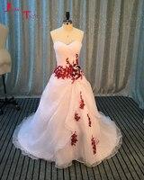 Jark tozr Vestidos De Novia красные цветы Свадебные платья Белый Роскошные Свадебные платья А 2017 Robe De Mariage Aliexpress Войти