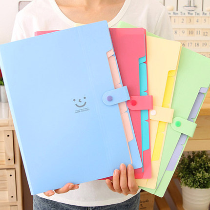 QSHOIC PP optimal every sweet candy color multilayer A4 insert folder envelope bag information Receive the organ package 13-65