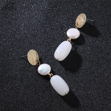 Badu White Opal Stone Earring Long Dangle Drop Earrings Natural Freshwater Pearl Hammered Golden Alloy Wholesale