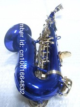 High Quality Professional Instrument Small Bend Neck Soprano Saxophone B Flat Unique Blue Body Golden Key Sax Free Shipping