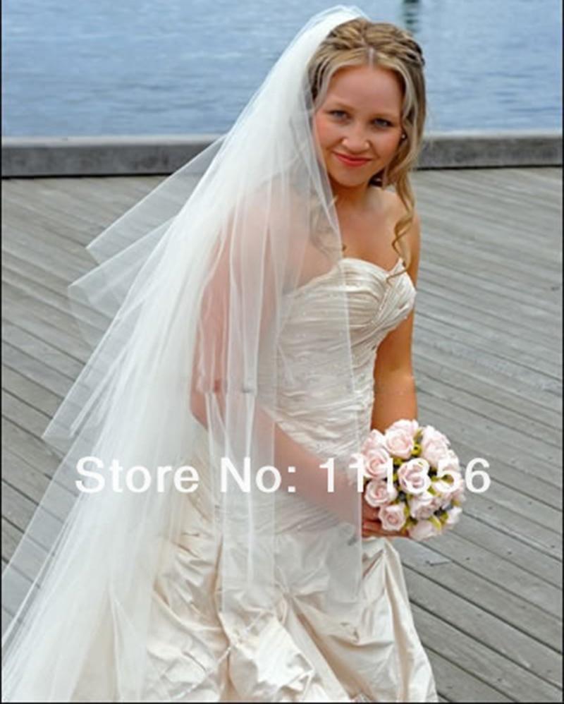 Ivory Cut Edge Long Wedding Dress Veils Cathedral Length Bridal Veil ...
