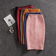 2019 de las mujeres de la moda Faldas de verano Plus tamaño de la rodilla-longitud  falda lápiz Mujer gamuza Split falda Jupe Muj. 7a98d83d0db8