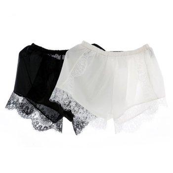 1PCS Sexy Shorts Tracksuit Hollow Satin Lace Women Shorts Casual Summer High Waist Short Feminino Shorts Solid Black White Color 2