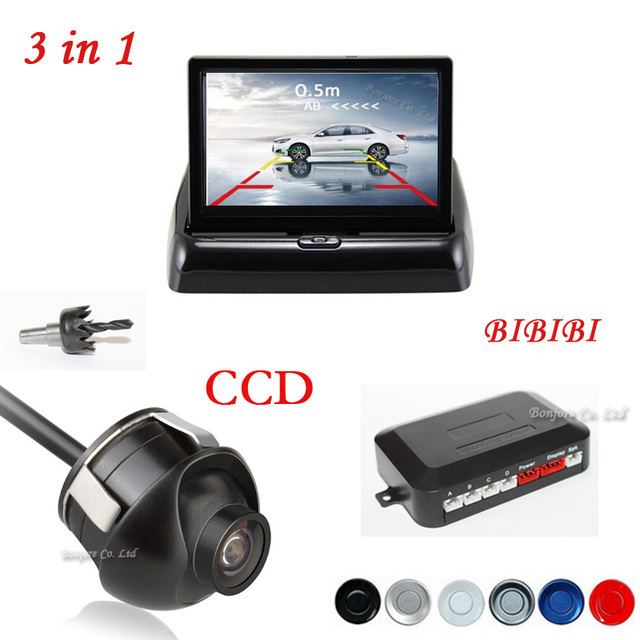 "3 in 1 Dual Core Car Video Parking Sensor Reverse Assistance Backup Radar + Rear View Camera + 4.3"" Car Monitor Mirror Parking"