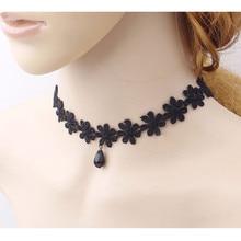 Hot Womens Fashion Necklace Black Lace Collar Choker Statement Bib Pendant