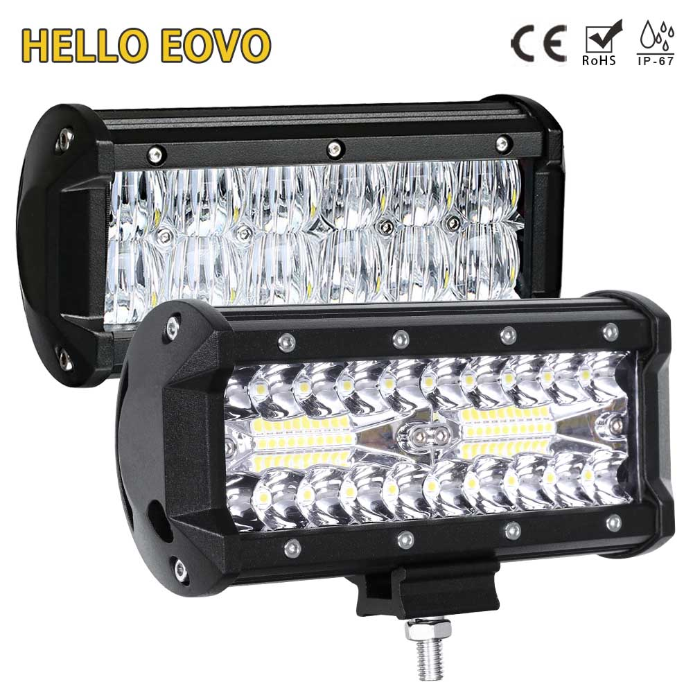 HELLO EOVO LED Bar 7 inch LED Light Bar Work Light for Driving Offroad Boat Car Tractor Truck 4x4 SUV ATV 12V 24V Off Road
