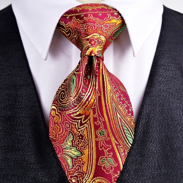 172d8466e2a7 Gorgeous Floral Paisley Gold Red Navy Blue Turquoise Mens Tie Necktie 100%  Silk Jacquard Woven Free Shipping Wholesale Brand New