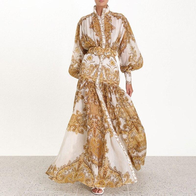Broderie géométrique Court Style femme robe col montant rue longue robe taille haute jaune robe bulle manches longues