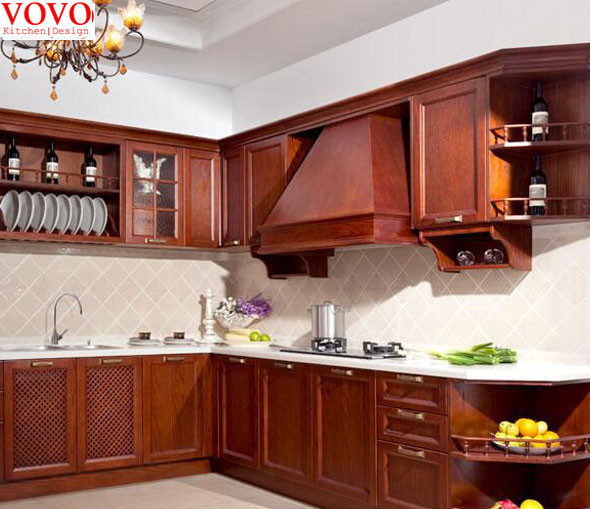 Solid Wood Cherry Kitchen Cabinets: Cherry Solid Wood Kitchen Cabinet-in Kitchen Cabinets From