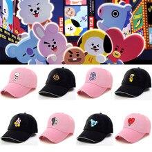 032c5f75686a7 2 colores Kpop BTS Bangtan niños dibujos animados BT21 gorra de béisbol  ajustable gorra de béisbol