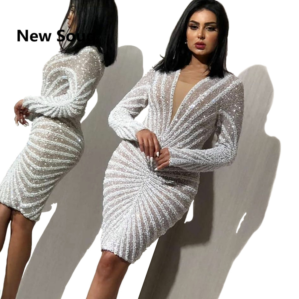 Exquisite Sequined Knee Length Straight Short   Prom     Dresses   Illusion V-neck Long Sleeves Evening   Dress   Sexy Cocktail Party Gowns