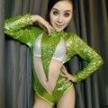 Moda de Nova verde Neon Paillette gaze patchwork Vestido dj traje cantora ds roupas fase roupas de dança bodysuit