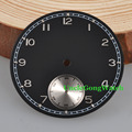 Watch Parts, Corgeut 38.9mm Black Sterile Dial Silver Subdials Watch Dial fit 6498 Hand Winding Watch Movement