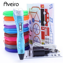 hot deal buy 3d printer pen 2018 new 3d printing pens with 100/200 meter filament low temperature protection 3d graffiti pen usb 3d pens