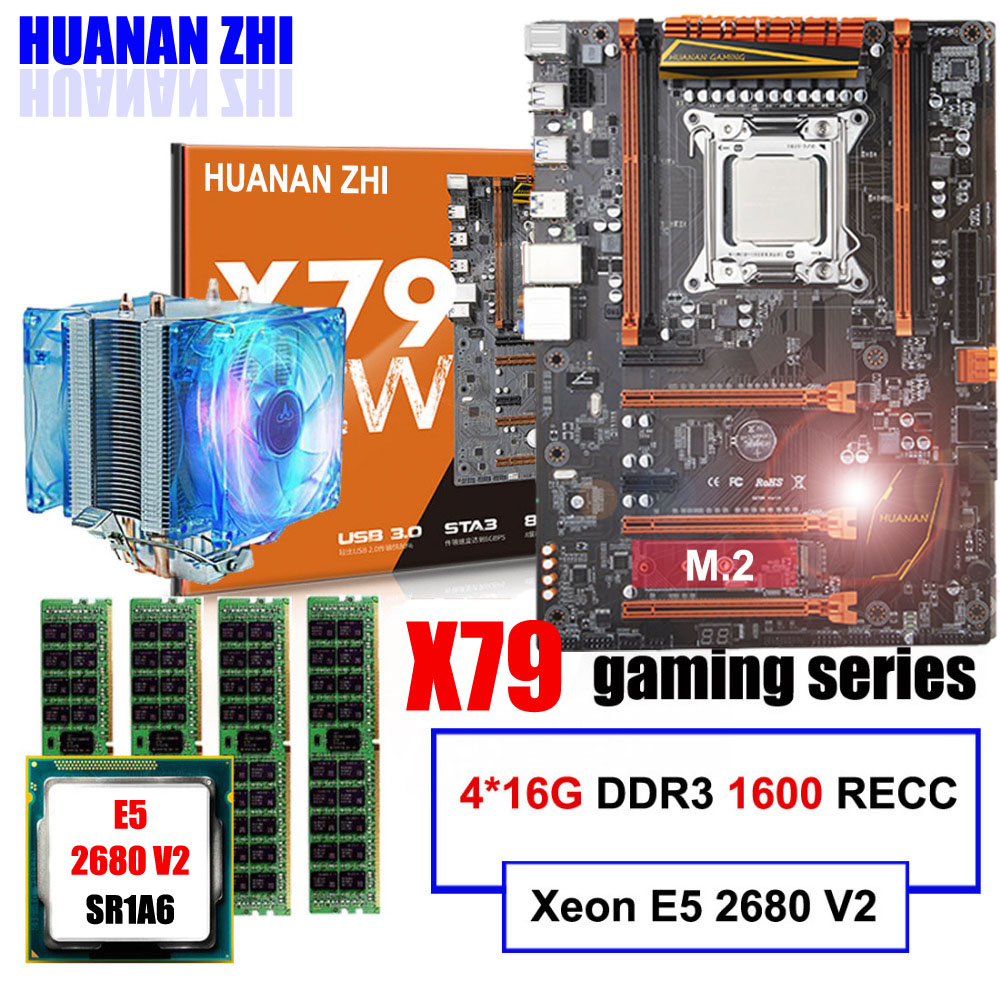 Brand HUANAN ZHI deluxe X79 gaming motherboard Xeon E5 2680 V2 SR1A6 with cooler RAM 64G(4*16G) 1600MHz DDR3 RECC all tested