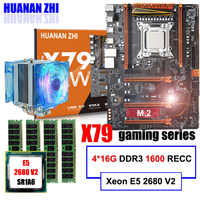 Brand motherboard on sale HUANAN ZHI deluxe X79 motherboard with M.2 CPU Xeon E5 2680 V2 with cooler RAM 64G(4*16G) 1600 REG ECC