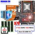 Marca de la placa base en venta HUANAN ZHI deluxe X79 Placa base con M.2 CPU Xeon E5 2680 V2 con enfriador RAM 64G (4*16G) 1600 REG ECC