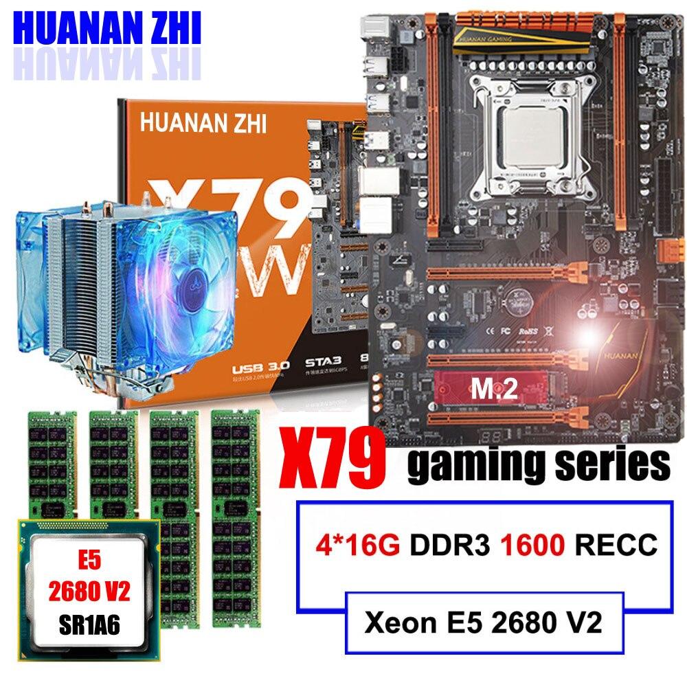 Marque carte mère en vente HUANAN ZHI deluxe X79 carte mère avec M.2 CPU Xeon E5 2680 V2 avec cooler RAM 64g (4*16g) 1600 REG ECC