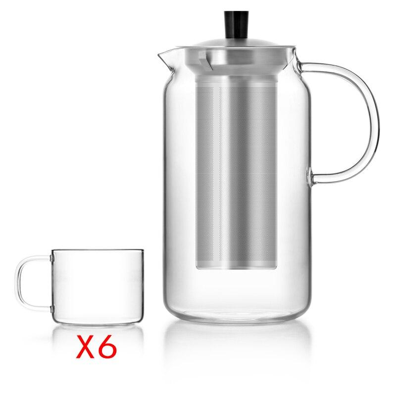 주입기 1200ml & 6 개 조각 유리 컵, 방열 유리제 음료 병을 가진 최고 큰 붕규산 유리 찻 주전자