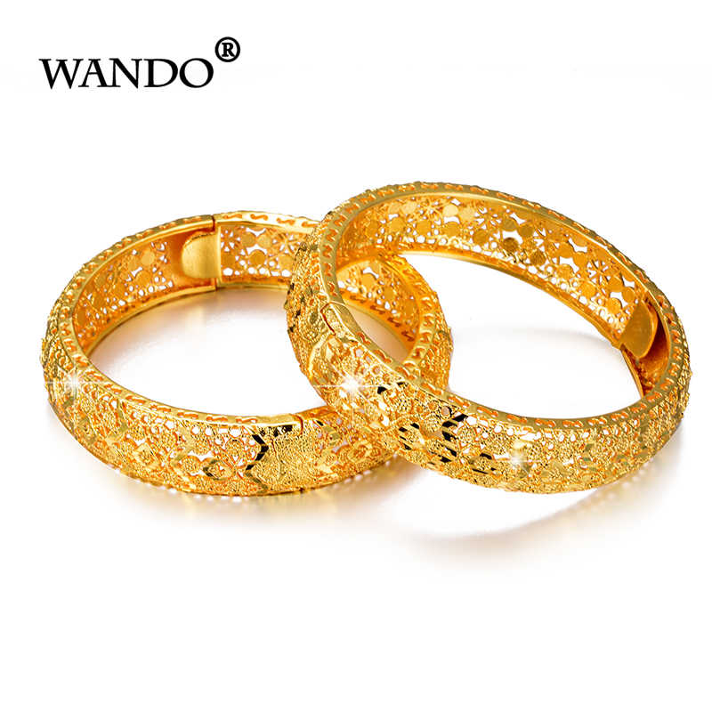 WANDO 2 sztuk/partia najnowszy złoty bransoletka dla kobiet złoty kolor i mosiądz, dubaj bransoletki afryki łańcuszek na rękę etiopii/arabski prezent b153
