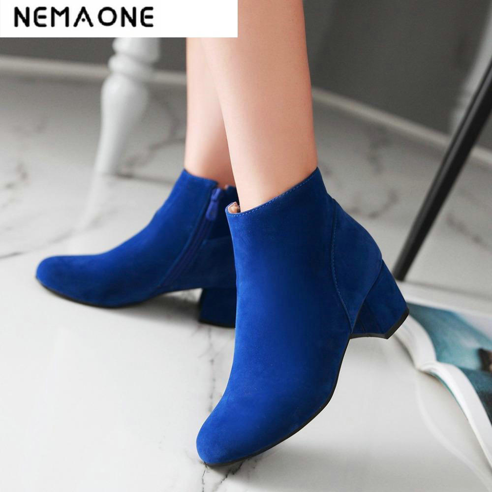2018 New Women's Fashion spring and autumn flock square Heel Ankle Boots Womens Casual Martin Boots Shoes Black botas mujer euro style spring autumn women ankle boots platforms square heel ankle boots lace up fashion motorcycle boots martin shoes