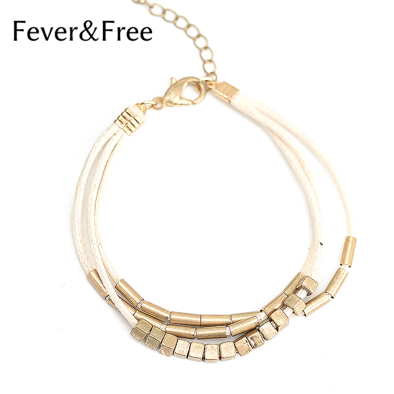 Fever&Free Popular Alloy Multi-layer Beige Bracelets Handmade Trending Style Charm Bracelet For Woman Jewelry Drop Shipping