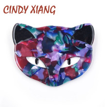 CINDY XIANG 2 Color Choose Colorful Acrylic Cat Brooches for Women Acetate Fiber Cute Animal Brooch Pin Handmade Jewelry Fashion
