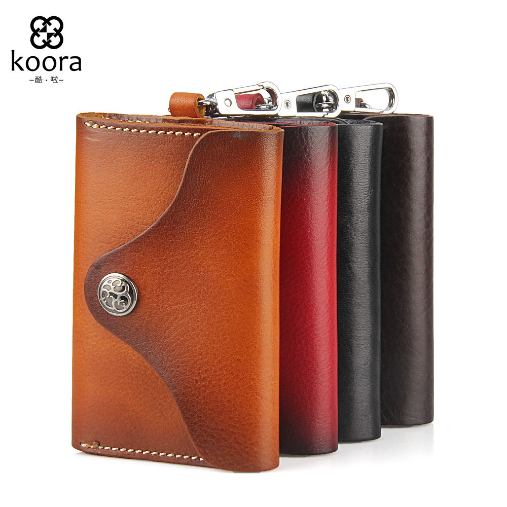 цена на Men Male Real Genuine Leather Rocker Car Moto Rider Key Holder Wallets Top Quality Rock And Roll Key Case Organizer Pouch