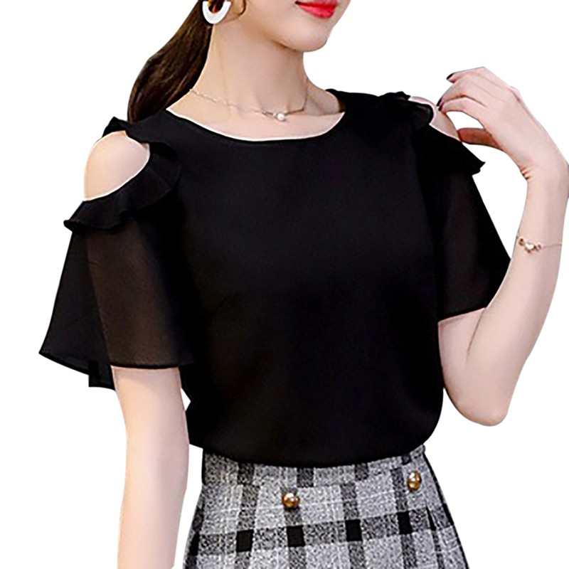 2019 Summer Ladies Causal Off Shoulder Ruffles   Shirts   Women's Black/White Chiffon   Blouses   Women O-neck Short Sleeve Solid Tops