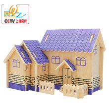Hot selling Kids Wooden Classic 3D House Puzzles Wood Scale Models Children toys DIY Villa Jigsaw Puzzle gift