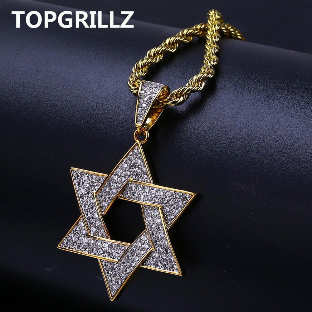57e15f53dbcfa US $12.98 30% OFF|TOPGRILLZ Hip Hop Men Gold Color Plated Necklace Micro  Pave Iced Out CZ Stone Star Of David Pendant Necklaces With Rope Chain-in  ...