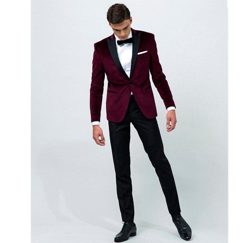 2018 nouveau costume Custom Made Vin Rouge Veste Noir Pantalon Hommes De Mariage Formelle Costumes D'affaires