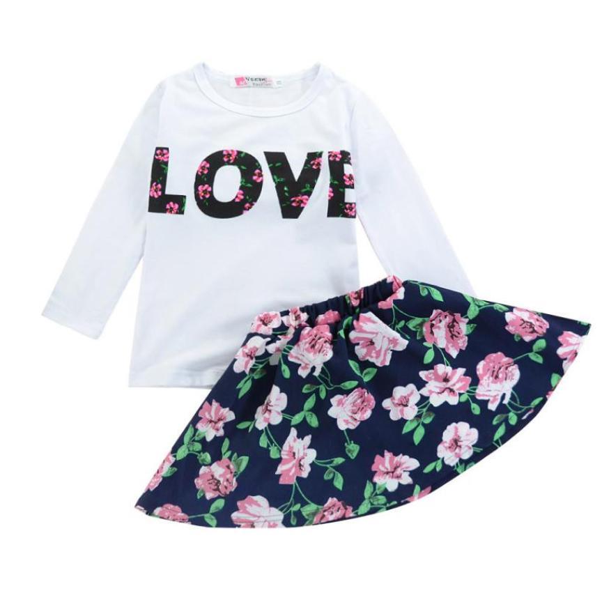 Shaunyging #4027 девушки любят письма печатаются жилет без рукавов юбка с цветочным рисунком Комплект одежды