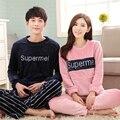 Brand Winter Women's Sleepwear Couples Pyjama Femme Pajamas Coral Fleece Letters Pajama Mujer Men Pajamas Sets Home Clothing