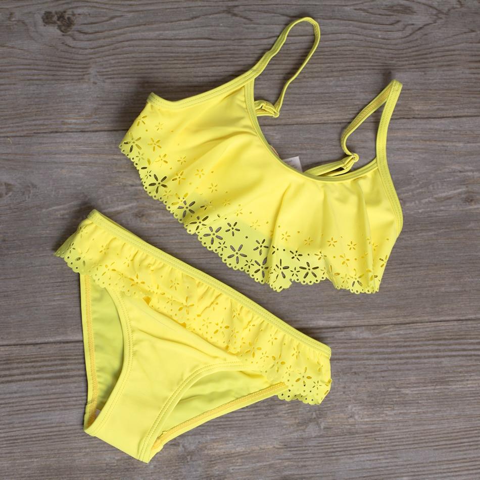 2019 Girls Swimsuit Two Piece Ruffle Hollow Style Children's Swimwear 2-15 Years Girls Beachwear Bathing Suit Swimwear JX26