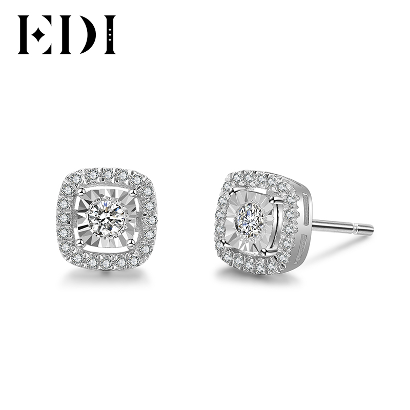 Edi Soild 14k 585 White Gold Stud Earrings 0 29ttw Halo Natural Diamond Wedding For Women Fine Jewelry In From Accessories On