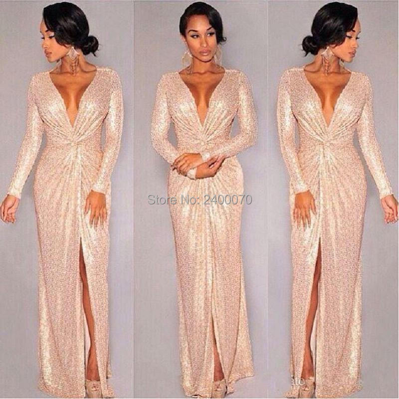 High Quality Long Sleeve Gold Sequin Dress-Buy Cheap Long Sleeve ...