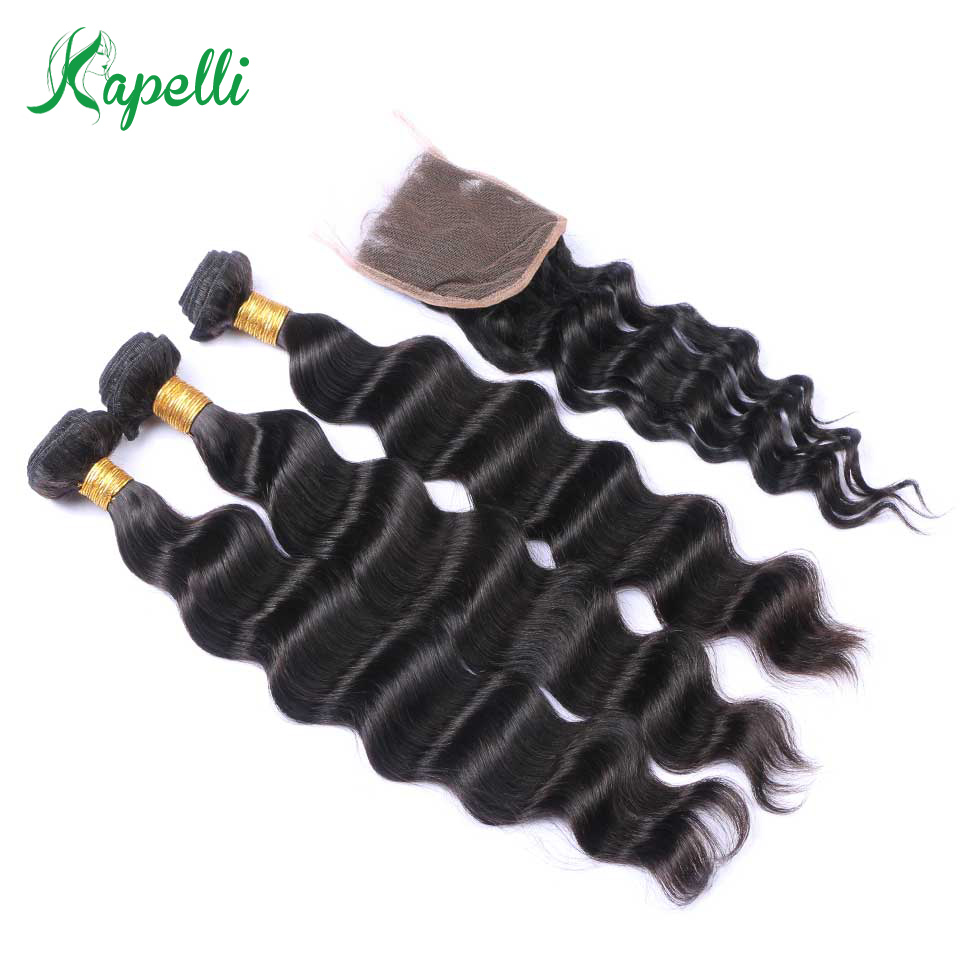 Kapelli Human Hair Loose Deep 3 Bundles With Lace Closure 4*4 4 Pc/Lot Brazilian Hair Weave Bundles With Closure Remy Hair