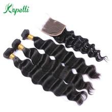Kapelli Human Hair Loose Deep 3 Bundles With Lace Closure 4*4 4 Pc/Lot Brazilian Hair Weave Bundles With Closure Remy Hair