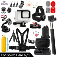 SnowHu for Gopro Accessories Set For Gopro hero 6 5 Waterproof case Protection Frame monopod for Go pro 6 gopro 5 GS73