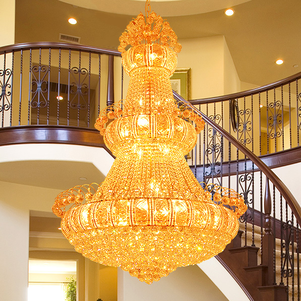 Modern Large Gold Crystal Chandeliers Lights Fixture American Big Golden Crystal Droplight Home Indoor Hotel Hall Club