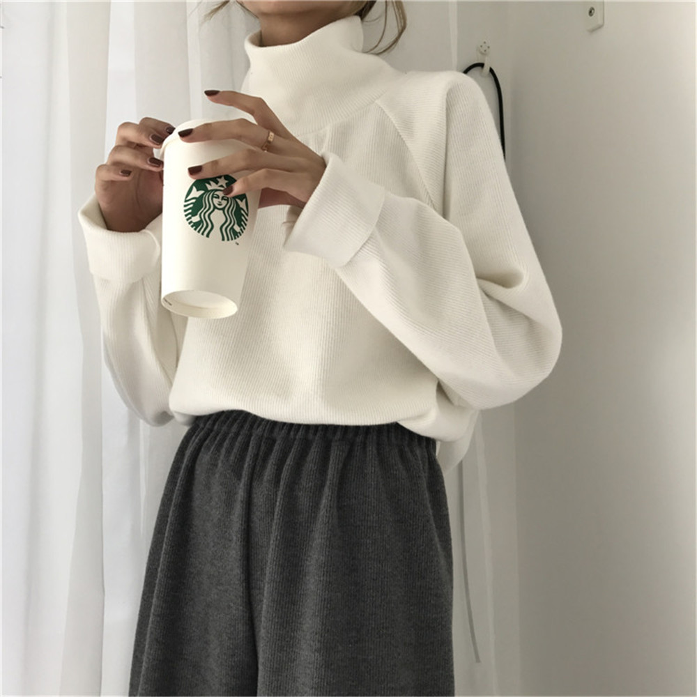 2019 New Women Casual Loose Sweater Autumn Winter Turtleneck Knitted Jumpers Long Batwing Sleeve Crocheted Pullovers Streetwear