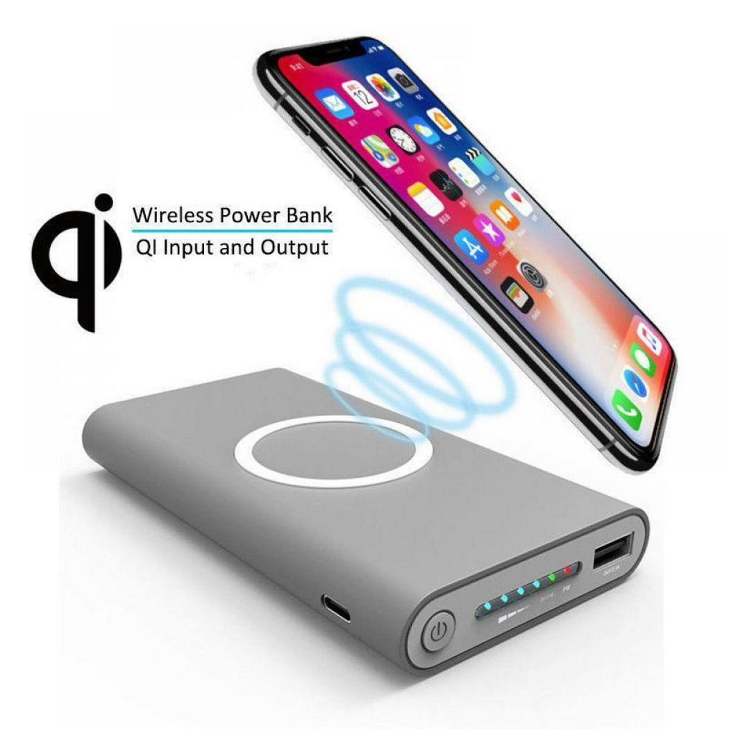 Qi Wireless 10000mAh Power Bank  Portable Charge External Battery Poverbank Charging For iPhone Xiaomi Mi Samsung(China)